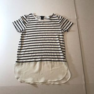 Ann Taylor | striped blue & white mixed fabric top